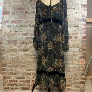 Loft boho Gypsy green brown long sleeve dress